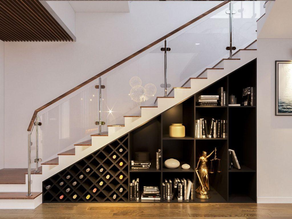 Bày trí cầu thang đẹp bằng cách đặt cầu thang nép vào tường là điều mà gia chủ nên thực hiện