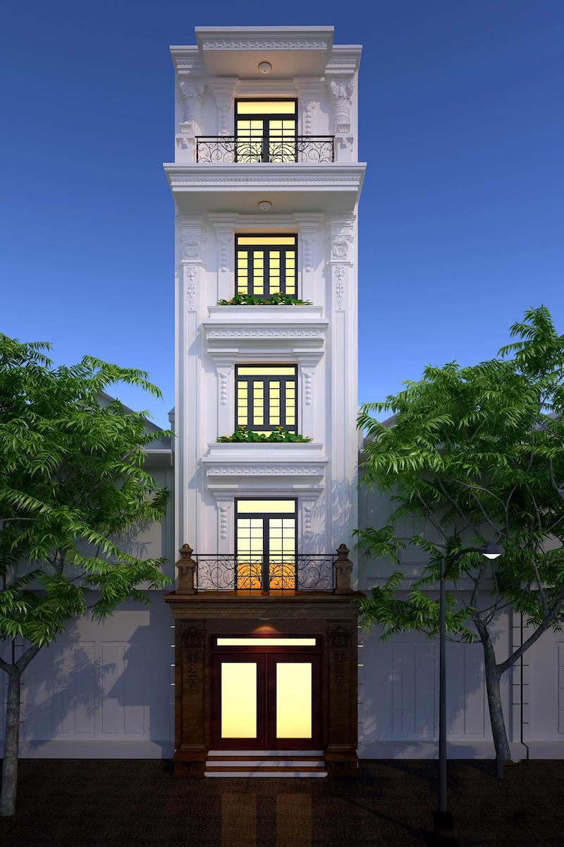 Sở hữu chiều ngang 7m, chiều dài 14m là một trong những tiền đề thuận lợi để phân chia công năng bên trong ngôi nhà một cách dễ dàng