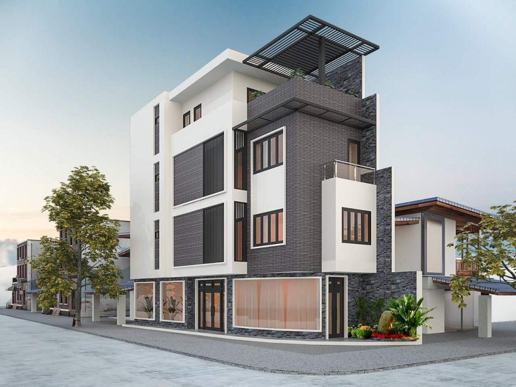Trên thực tế, nhà 2 mặt tiền kinh doanh phù hợp với phong cách hiện đại bởi những đường nét khỏe khoắn, màu sắc tươi sáng