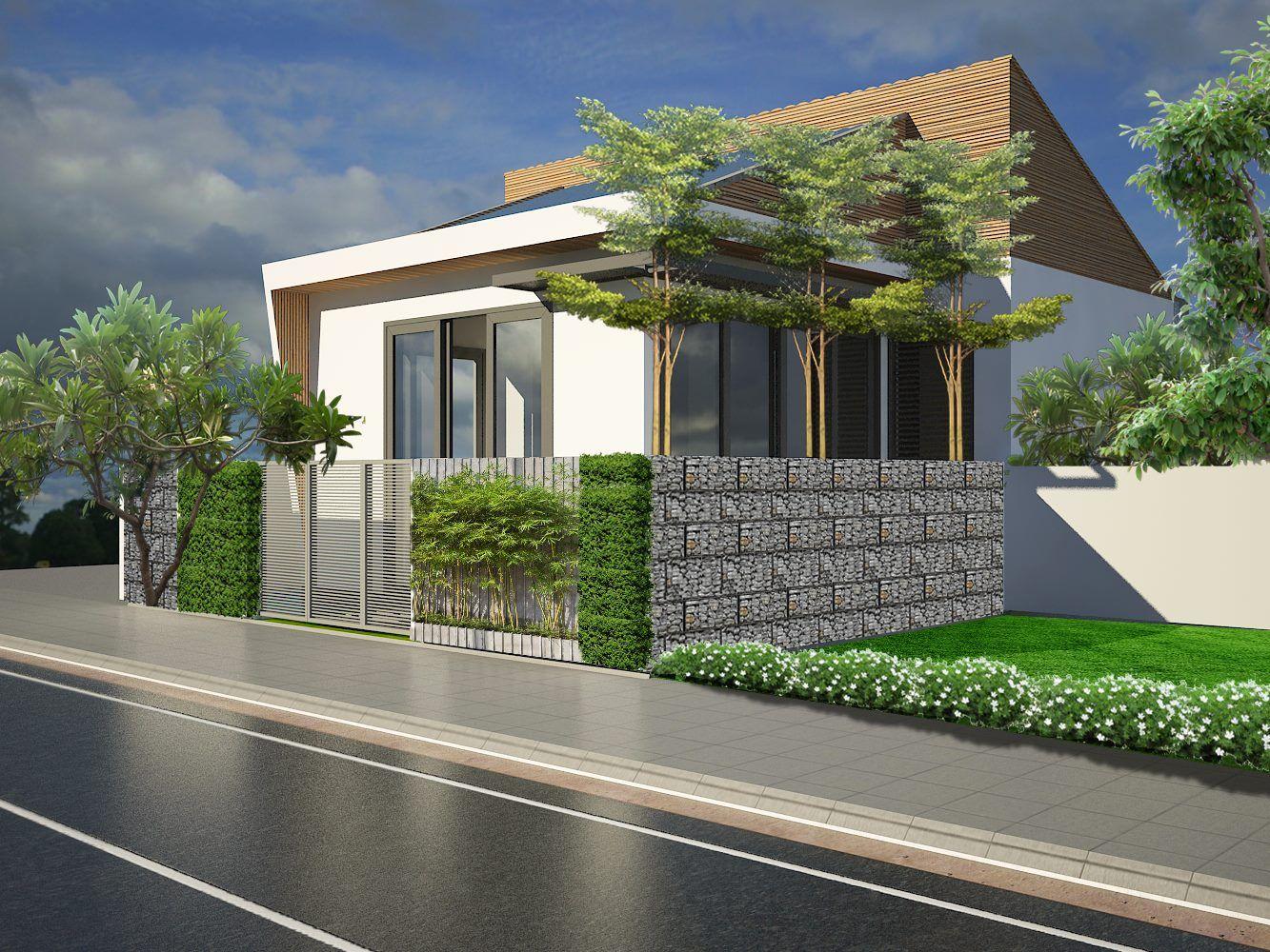 Cuối ngôi nhà còn được thiết kế một cửa phụ, mở ra sân sau phục vụ cho việc giặt phơi của các thành viên trong gia đình