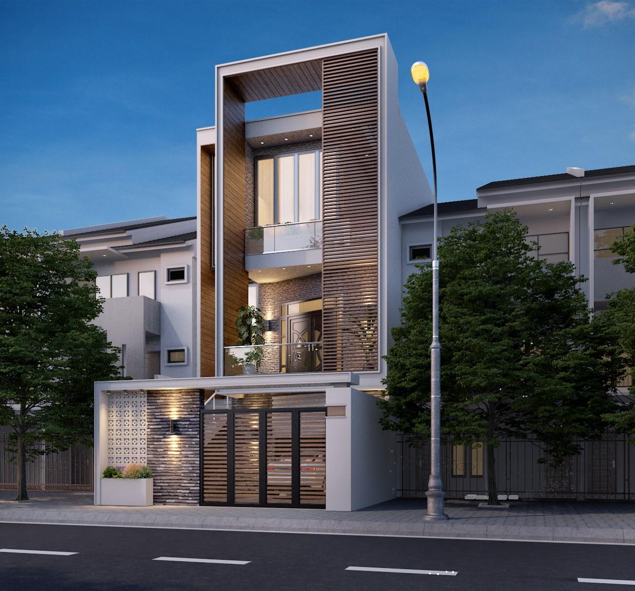 Cách thiết kế mặt tiền ngôi nhà này khá gần gũi với thiên nhiên, đồng thời phía trong của ngôi nhà được bố trí công năng đầy đủ